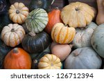 Pumpkins for sale on Market Stall - stock photo