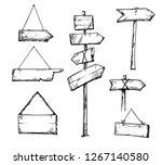 Set Of Wooden Arrow Signs  Han...