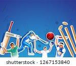 sticker style cricket sport... | Shutterstock .eps vector #1267153840