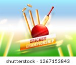 realistic cricket equipment... | Shutterstock .eps vector #1267153843
