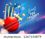 cricket player in playing... | Shutterstock .eps vector #1267153879