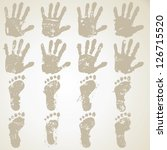 collection hands and feet prints | Shutterstock .eps vector #126715520
