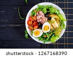 healthy hearty salad of tuna ... | Shutterstock . vector #1267168390