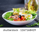 healthy hearty salad of tuna ... | Shutterstock . vector #1267168429