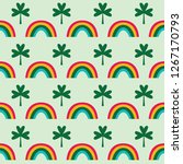 clover and rainbows  seamless... | Shutterstock .eps vector #1267170793