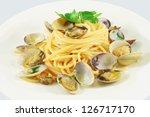 spaghetti alle vongole  dish  ... | Shutterstock . vector #126717170