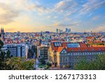 Prague panorama with the Old Town and skyscrappers in the background, Czech Republic