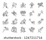 kite line icon set. included... | Shutterstock .eps vector #1267211716