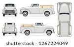old truck vector mockup on... | Shutterstock .eps vector #1267224049