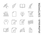 copywriting outline icons set... | Shutterstock . vector #1267244206