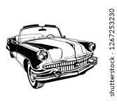 vintage car cabriolet 1950's...   Shutterstock .eps vector #1267253230