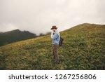 stylish hipster traveler ... | Shutterstock . vector #1267256806