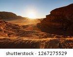 red desert wadi rum in jordan.... | Shutterstock . vector #1267275529