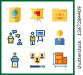 discussion icon. manager and... | Shutterstock .eps vector #1267284409