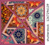 bright square patchwork pattern.... | Shutterstock . vector #1267296139