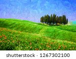 beautiful countryside landscape ... | Shutterstock . vector #1267302100