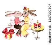 handrawn bunny in love.... | Shutterstock . vector #1267307509