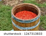 Open Wooden Barrel Filled With...