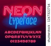 neon tube alphabet font. neon... | Shutterstock .eps vector #1267322716