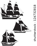Pirate Ship silhouettes, galleon, brigantine and cutter under the Jolly Roger black flag, Age of Discovery sailing vessels vector illustration