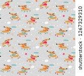 dachshund dogs skate pattern | Shutterstock .eps vector #1267329310