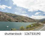 Scenic path view of Clutha River, Clyde, South Island, New Zealand