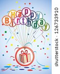 birthday card  with gift and... | Shutterstock .eps vector #126733910