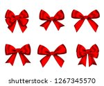 red  gift  bows set  isolated... | Shutterstock .eps vector #1267345570