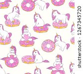 seamless pattern with cute baby ... | Shutterstock . vector #1267345720