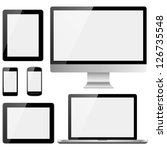 electronic devices with white... | Shutterstock .eps vector #126735548
