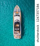 aerial view of huge yacht at... | Shutterstock . vector #1267357186