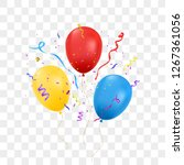 birthday balloons with confetti ... | Shutterstock .eps vector #1267361056