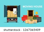 things in box in the trunk of... | Shutterstock .eps vector #1267365409