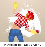 a woman from the back in jeans...   Shutterstock . vector #1267372840