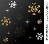 gold and white snowflakes.... | Shutterstock .eps vector #1267376890