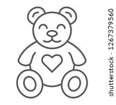 teddy bear thin line icon ... | Shutterstock .eps vector #1267379560