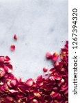 rose petals on marble flatlay   ... | Shutterstock . vector #1267394320