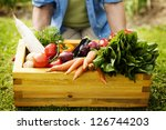 wooden box filled fresh... | Shutterstock . vector #126744203