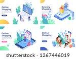 online shopping  online... | Shutterstock .eps vector #1267446019