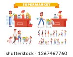 people shopping in supermarket... | Shutterstock .eps vector #1267467760