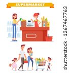 people shopping in supermarket... | Shutterstock .eps vector #1267467763