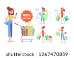 young woman with shopping bags. ... | Shutterstock .eps vector #1267470859
