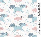 cute cartoon horses seamless... | Shutterstock .eps vector #1267490206