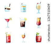 set of nine tropical cocktails...   Shutterstock .eps vector #1267510609