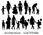 vector drawing parents and child | Shutterstock .eps vector #126755486