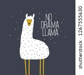 no drama llama cute card with... | Shutterstock .eps vector #1267555630