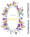 wedding vertical frame of wild... | Shutterstock . vector #1267584223