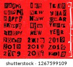 happy new year 2019. vector... | Shutterstock .eps vector #1267599109