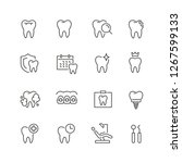 dental related icons  thin... | Shutterstock .eps vector #1267599133