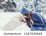 beautiful woman in a hat and...   Shutterstock . vector #1267639669